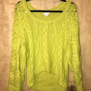 Lime Knit Slouchy Sweater